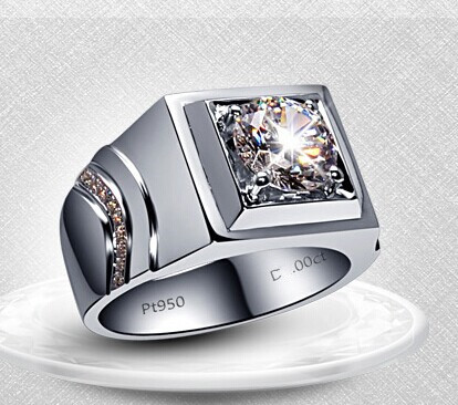 Surprise Men Ring Brilliant 1Ct Round Cut Synthetic Diamonds Ring Solid 925 Sterling Silver Ring White