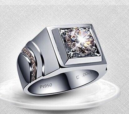 مفاجأة الرجال حلقة رائعة 1ct جولة قص الماس الاصطناعية خاتم لون الصلبة 925 فضة خاتم الذهب الأبيض الرجال المجوهرات-في خواتم خطوبة من الإكسسوارات والجواهر على  مجموعة 1