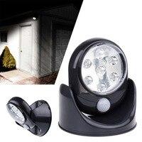 4 5V 7 LEDs Cordless Motion Activated Sensor Light Lamp 360 Degree Rotation Wall Lamps Black