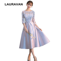 grey women half sleeved formal evening ball gowns dresses special occasion dress with lace short party with half sleeves