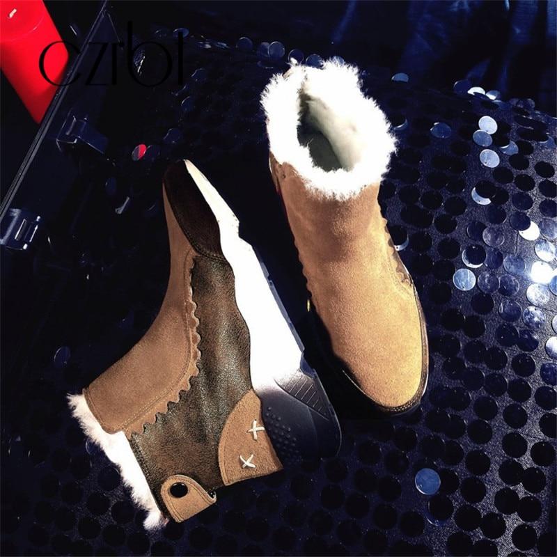 Femme De Plates formes Véritable La Neige En Czrbt Cuir D'hiver Avec marron Chaussures 2018 Femmes Bottes Noir Peluche Laine Cheville Talons Confortable Coins XZxwqgR6