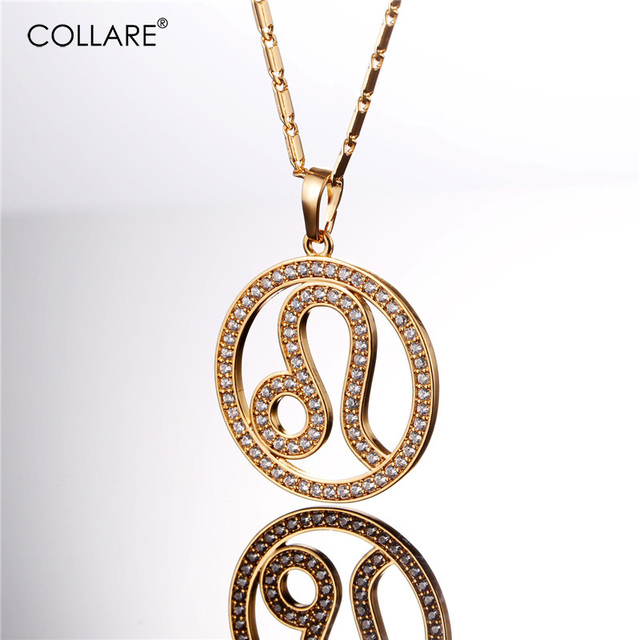 Collare New Zodiac Birthday Gift Necklace Women Crystal Cubic Zirconia Gold Silver Color Leo Pendant Men 12 Constellations P071