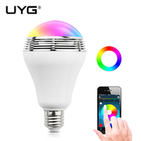 E27 Wireless Bluetooth Smart LED Speaker Bulb Audio Mp3 Player Colorful Music Playing Lighting With App