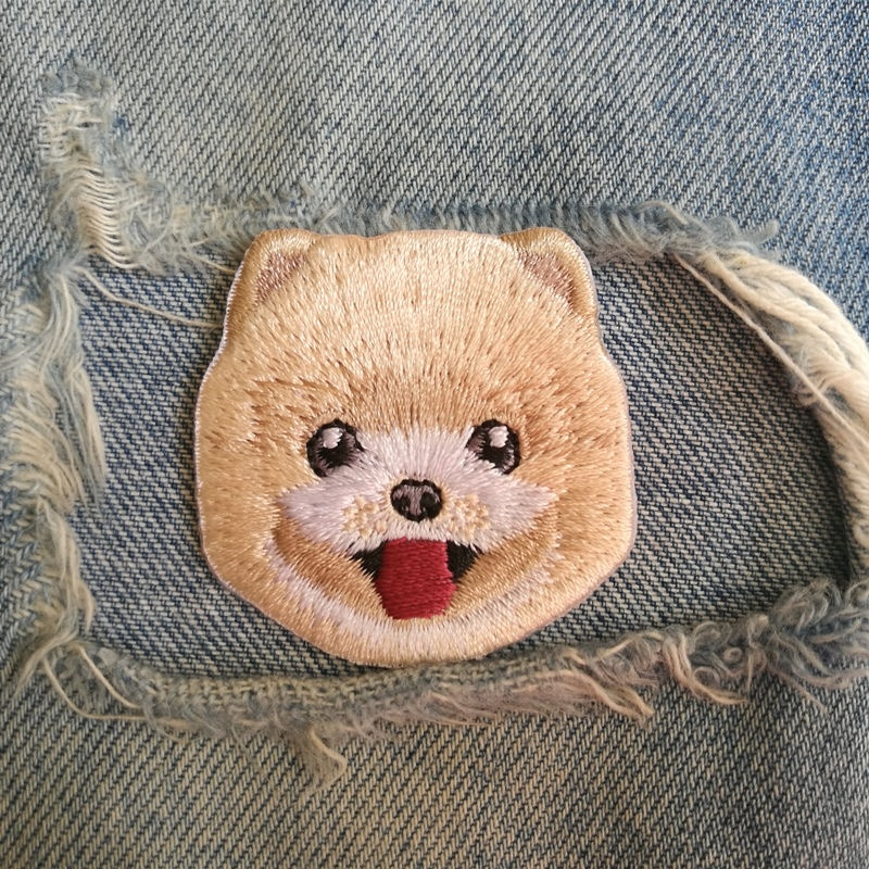 1 PIC 4.3*4.4CM Computer Embroidery Pomeranian DOG Chapter Patch Clothing Decoration Patch Hole Embroidery STICKER
