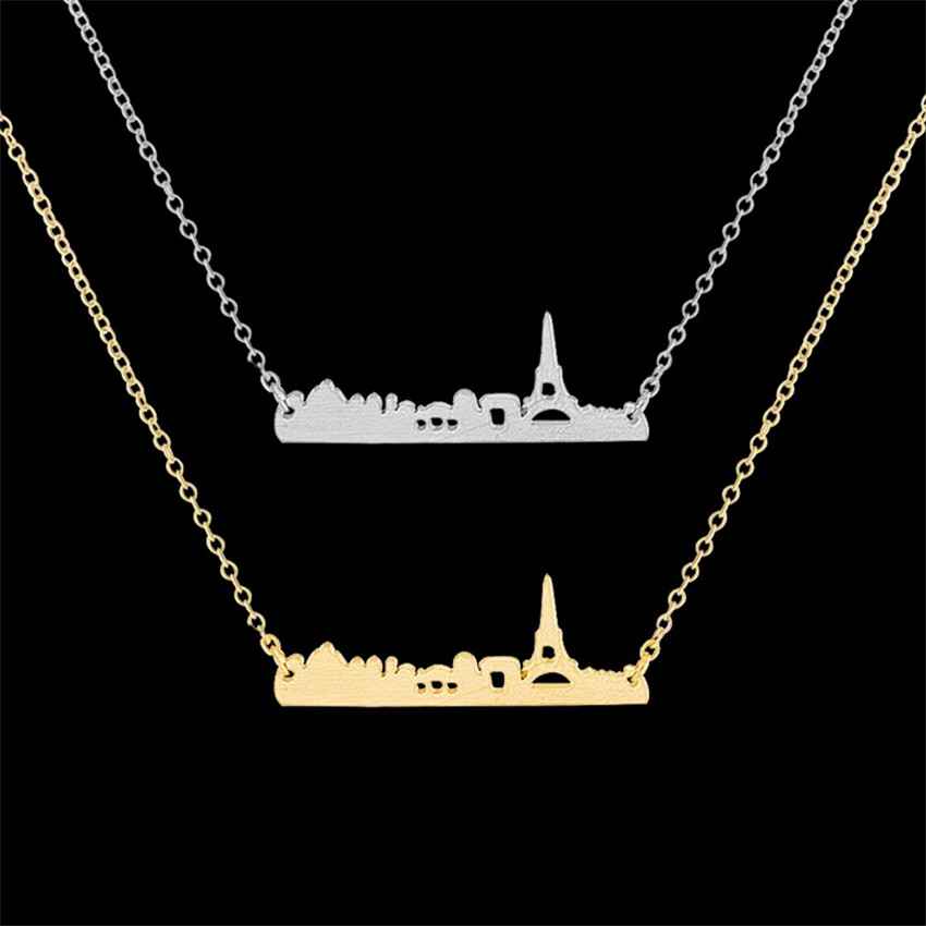 DIANSHANGKAITUOZHE 10pcs Stainless Steel Gold France Cityscape Eiffel Tower Jewelry Paris Necklace Dainty Accessories For Women