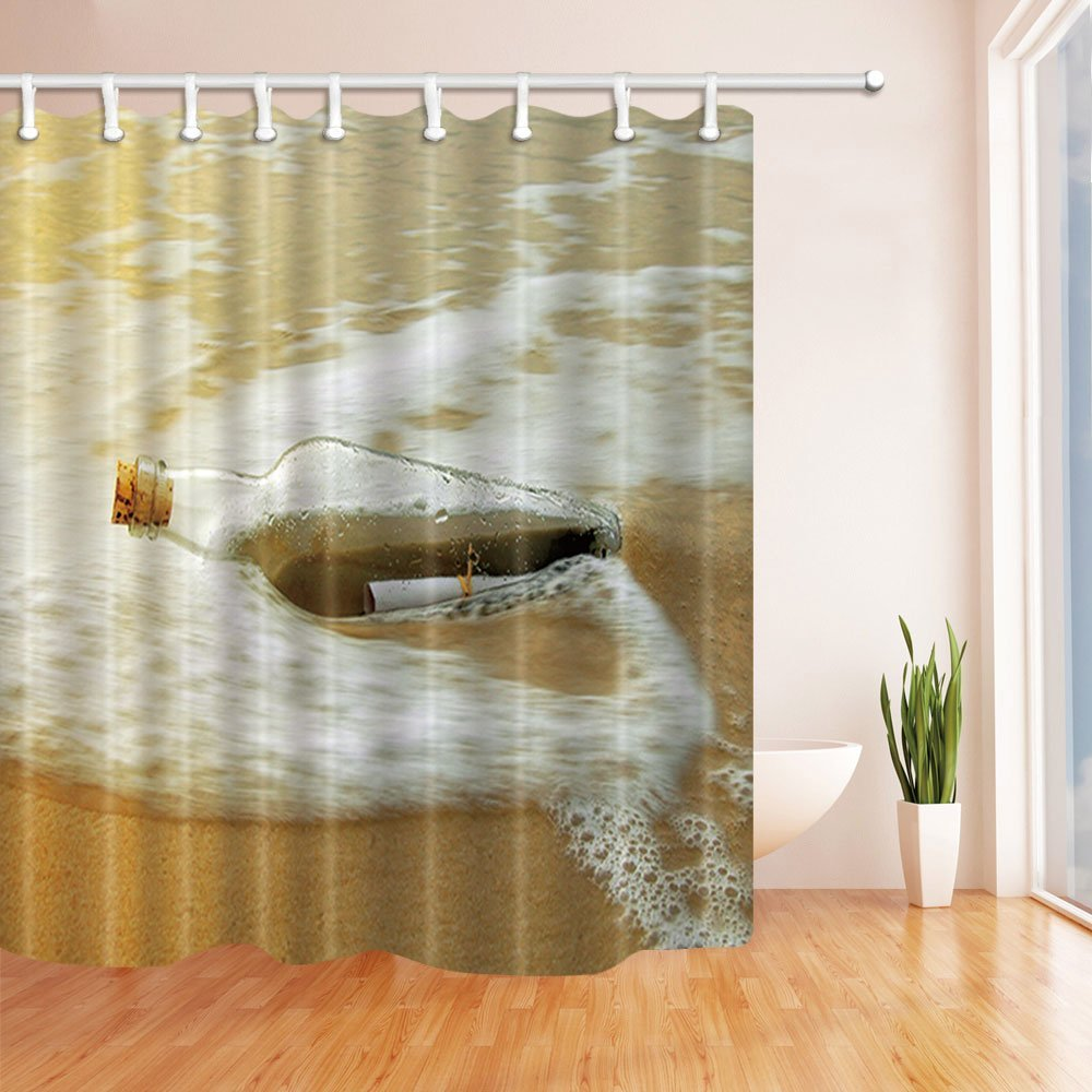Drifting Bottle in Waves on Beach Shower Curtain, Mildew Resistant Polyester Fabric Bathroom Decorations, Bath Curtains