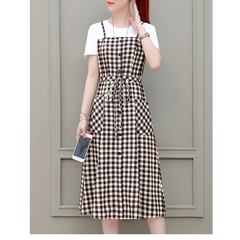 Summer casual dress knee length o neck Bow Plaid Fake two pieces short sleeve A line women dress