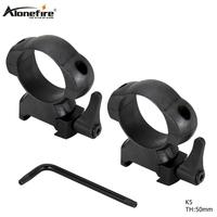 AloneFire K5 Tactical steel 30mm High Medium High Profile Quick Release Picatinny Weaver Scope Mount Ring Brack