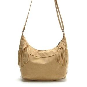 Image 3 - Croyance Vintage Bohemian Fringe Messenger Crossbody Bag Purse Women Tassel Handbag Solid Color