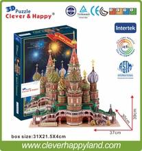2013 new clever&happy land 3d puzzle model Vasile Assumption Cathedral large adult puzzle model games for children paper все цены