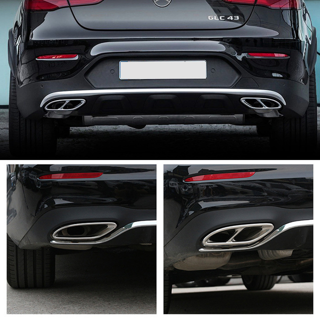 Car Accessories Exhaust Pipe Tail Cover Trim For Mercedes Benz E Class W213 W205 GLC C A Class A180 A200 W176 2015 2016 2017 AMG