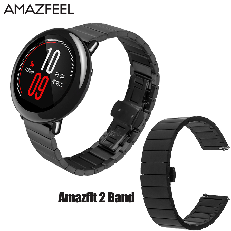 AMAZFEEL Watch Bracelet for Xiaomi Amazfit Strap Metal Stainless Steel Belt Huami Amazfit Stratos Strap Amazfit pace 2 Band 22mm strap