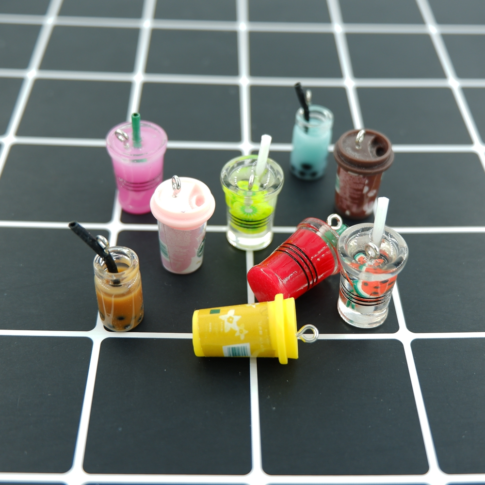 Charms Pendants Earring Bracelets Necklace Key-Chain Decoration Jewelry-Making Milk-Tea