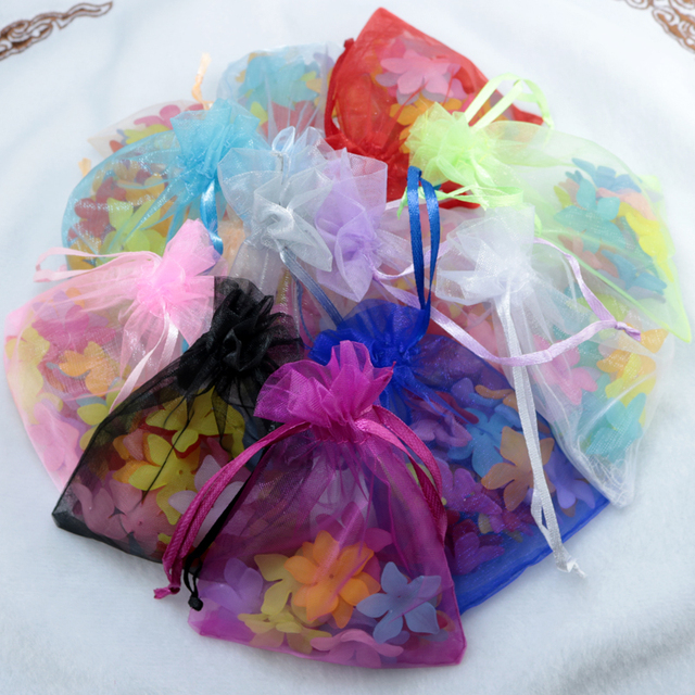 Large Stock 15x20cm 24Colors Jewelry Packing Drawable Organza Bags Wedding Gift Bags Pouches100pcs/lot Cosmetics Gift Bags