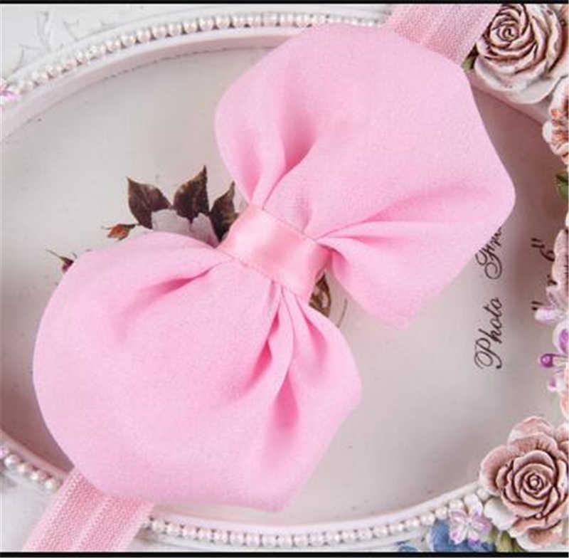 Горячие детские аксессуары Новорожденный Малыш повязка для волос лук аксессуар, лента для волос Лук Детские головные уборы сплошной цвет