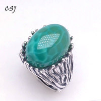 CSJ big stone green agate rings 925 sterling silver women femme lady Wedding Engagement party Gift Fine Jewelry