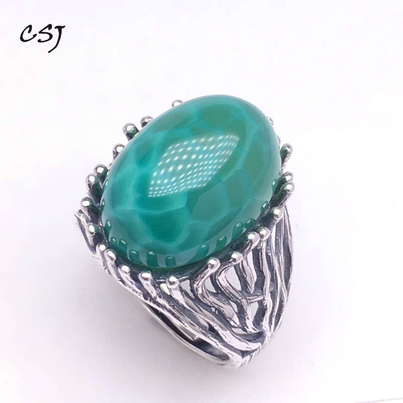 CSJ grosse pierre vert agate anneaux 925 en argent sterling femmes femme dame mariage fiançailles fête cadeau bijoux fins