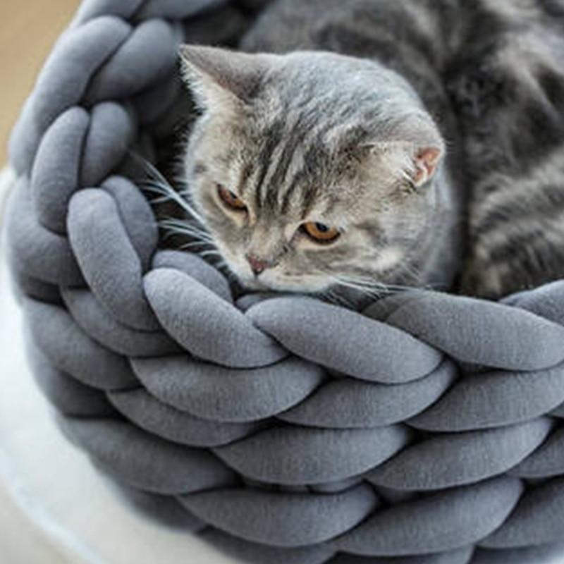 Petshy Handmade Knit Cat Beds Mats Warm Soft Small Dogs Kennel Puppy Kitten Cave Basket Sleeping Bag Detachable DIY Pet House