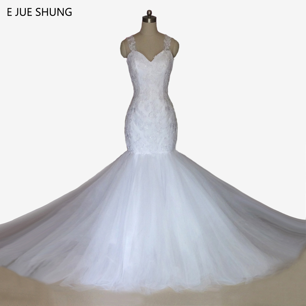 ②E JUE SHUNG Vintage Lace Appliques Mermaid Wedding Dresses Pearls ...