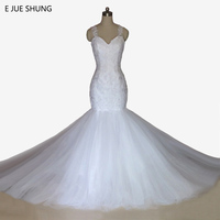 E JUE SHUNG Vintage Lace Appliques Mermaid Wedding Dresses Pearls Backless Wedding Gowns robe de marriage brautkleid