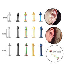 Sellsets 5pcs 6/8/10mm 16G Surgical Steel Spike Labret Lip Stud Ring Helix Piercing Cartilage Earrings Lobe Conch Tragus Stud(China)