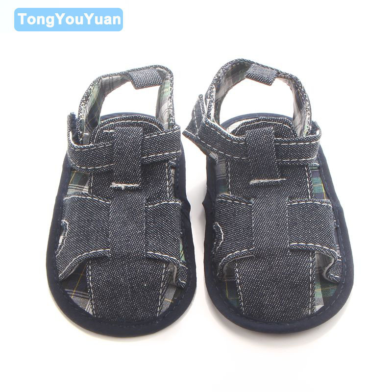 2017 New Arrival Comfortable Soft Cotton Sole Denim Hemp Baby Boy Sandals Shoes For 0-15 Months