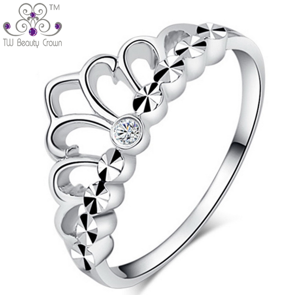 Top Quality Real 925 Sterling Silver Small White Crystal CZ Middle Finger Crown Ring For Young Women Girls Fashion Jewelry