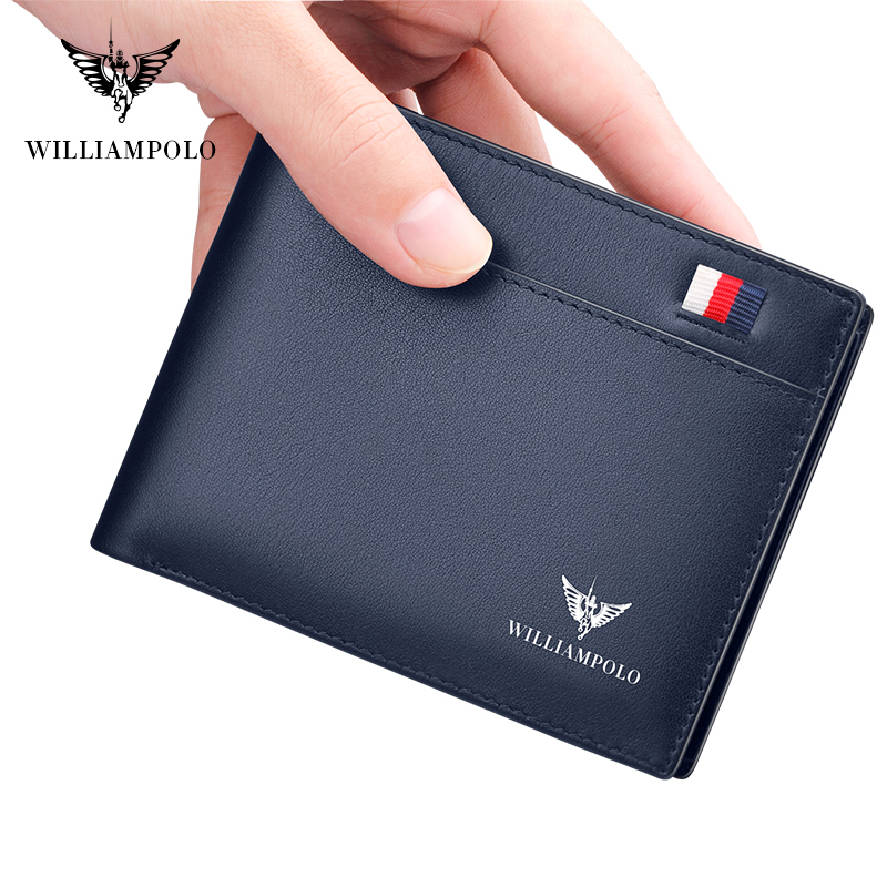 WilliamPOLO Brand Busines Men Wallet Genuine Leather Bifold Wallet Bank Credit Card Case ID Holders Male Coin Purse Pockets New