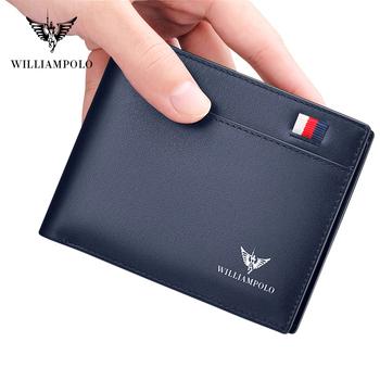 WilliamPOLO Brand business portfel męski skórzany składany portfel Bank etui na karty kredytowe etui na identyfikator męska portmonetka kieszenie nowe tanie i dobre opinie Wallet PRAWDZIWA SKÓRA Skóra bydlęca moda Stałe Bez suwaka Standardowe portfele SHORT NONE 0 8cm 11 5cm Genuine Leather