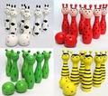 Animal De Madera lindo Bowling Toy Bowling Balls Juego Del Bebé Juguetes Intelectual Niños 4 Colores Disponibles
