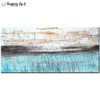 Professional Artist Handmade Modern Reed Landscape Painting on Canvas Sky Blue Lake Oil Painting for Room Decor Scenery Art