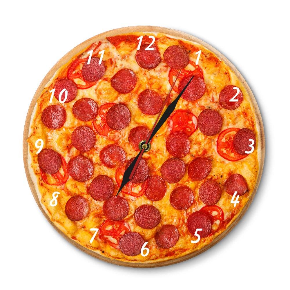 Italian Pepperoni Pizza Wall Clock Italian Restaurant Pizza Design Clock Pizzeria Pasta Diner Chef Vintage Gift Sign Clock Watch