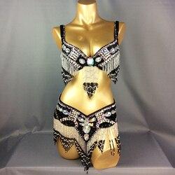 Neue ankunft frauen perlen bauchtanz kostüm tragen Bar + Gürtel 2pc set 11 farben damen bellydancing kostüme bauchtanz kleidung