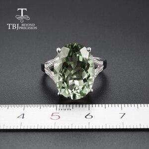 Image 3 - גדול ירוק אמטיסט טבעת טבעי חן טבעת 925 כסף סטרלינג תכשיטים עבור בנות נחמד שחור שישי & חג המולד מתנה