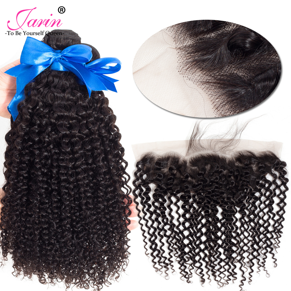 Jarin Hair Ear To Ear Lace Frontal Closure With 3 Bundles Indian Kinky Curly Human hair Weave With Closure Remy 4 Pcs/lot ...