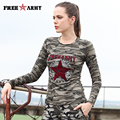 Fashion Camouflage T-Shirts Women 100%cotton Long Sleeve Camo Tops Ladies Autumn Casual O-Neck T-Shirts Womens Tops GS-8662B