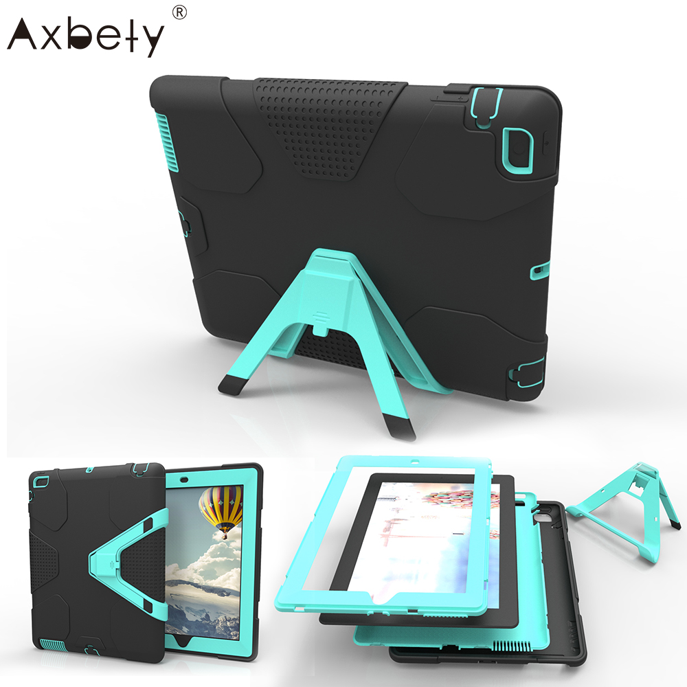AXBETY Full Shockproof Protection Stand Cover For iPad 2 Case Heavy Duty Silicone Hard Cover bag For ipad 2 3 4 Case For ipad 4 for ipad pro 10 5 a1701 a1709 kickstand case heavy duty shockproof rugged armor hard pc silicone full body protect cover foripad