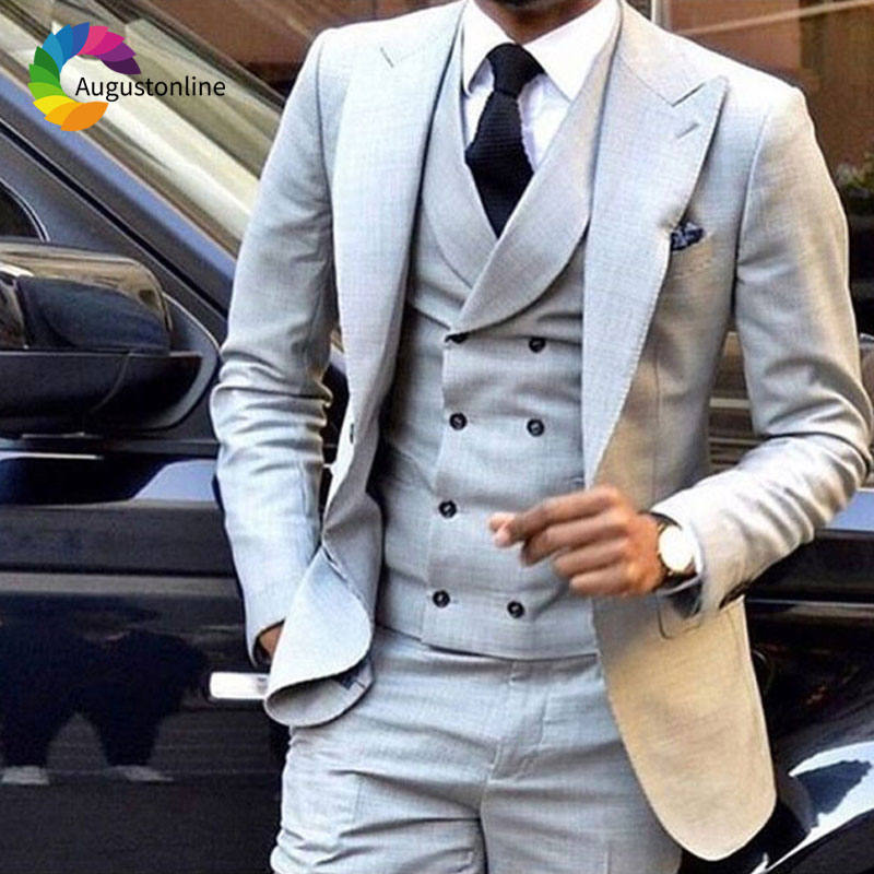 Grey Men 39 s Classic Suits for Wedding Wide Peaked Lapel Slim Fit Groom Tuxedos 3Piece Pants Vest Man Blazers Costume Homme Ternos in Suits from Men 39 s Clothing