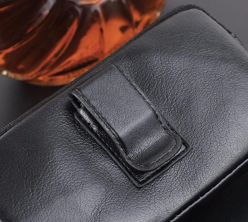 Black genuine leather belt clip pouch bag case (5)