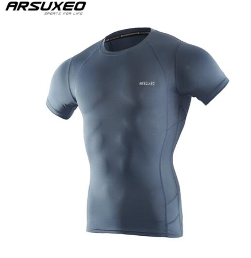 ARSUXEO Sport Shirt Men Short Sleeve Elastic Quick Dry Compression T Shirt Base Layer Running Shirt GYM Wear Fitness Sportswear in Running T Shirts from Sports Entertainment