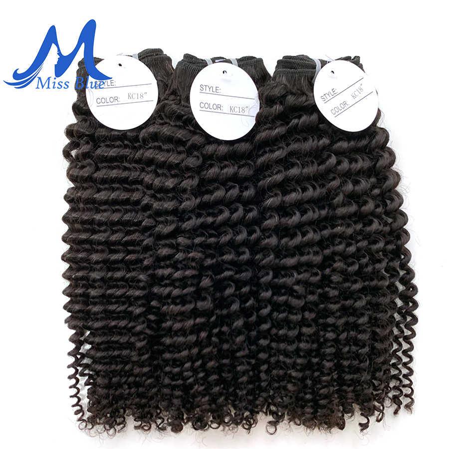Missblue Afro Kinky Keriting Perawan Rambut 3/4 Bundel Brasil Rambut Menenun 100% Remy Ekstensi Rambut Manusia Alami warna
