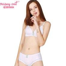 9acc149792c81 Free Shipping Feichangzimei Girls Underwear Girls Bra and Panties Cotton  White  Apricot A B Cup Bra Set -100142S