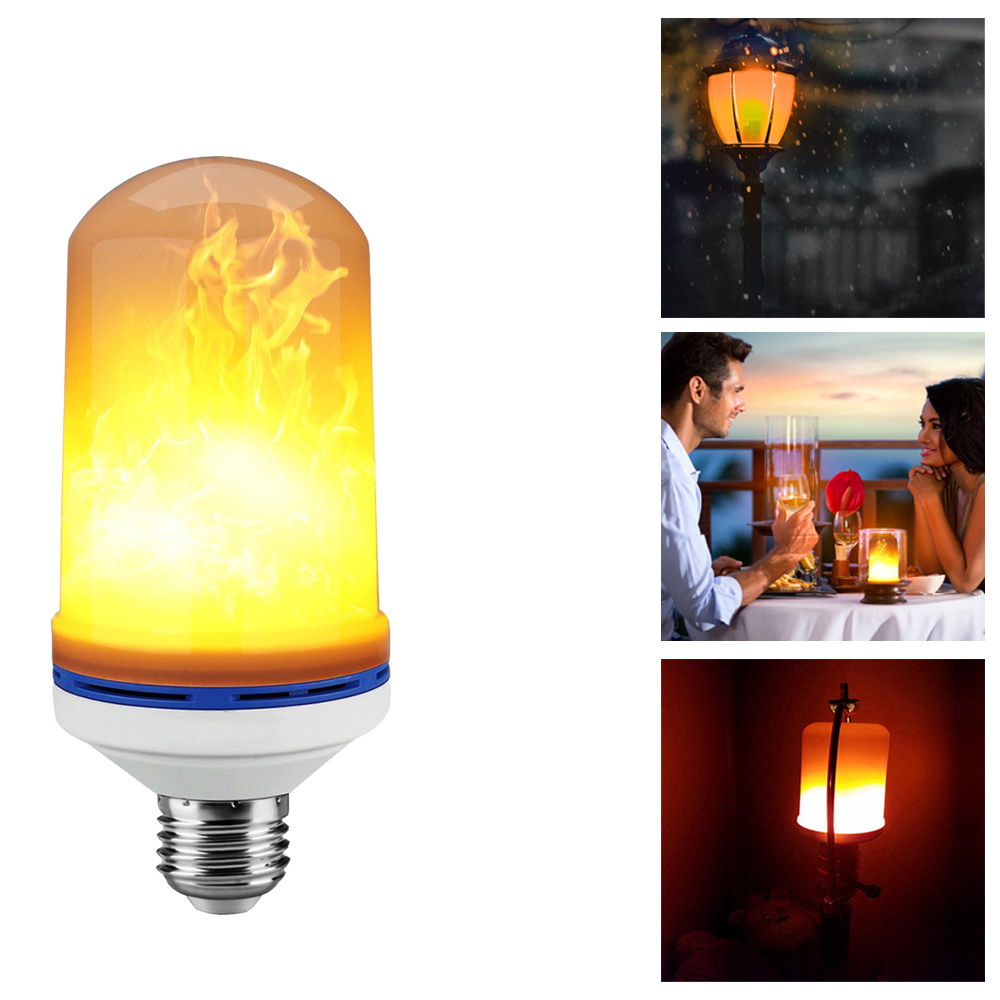 LMCO LED Flame Effect Fire Light Bulb Flickering Flame Lamp Simulated Decorative Atmosphere Lighting for Hotel/ Bars/ Home e26 led flame bulb flickering flame effect simulated flame light decorative light for hotel bars home restaurants
