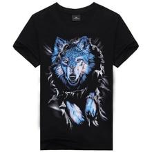 New 2015 Wolf Hole Camisetas 3d Printed T Shirt,Famous Brand One-Neck Cotton T Shirt Hip Hop Plus Size Men Clothing