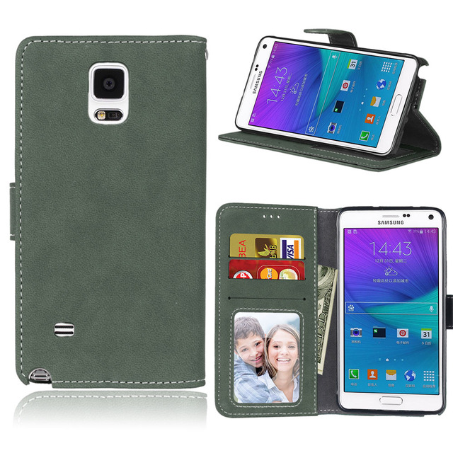 PU leather case For Samsung Galaxy note4 phone cases for coque samsung galaxy note 4 SM-N910C N910F SM-N910F luxury 8solid cover