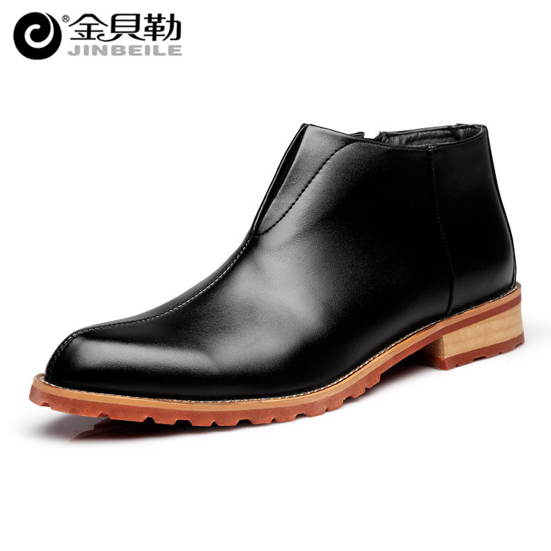 High Quality Vintage Men Boots Pointed Toe Zip Leather Ankle Boots Brand Design Men Dress Shoes Brown Motorcycle Boots Shoes