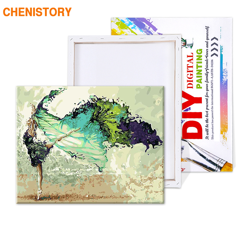 CHENISTORY Frame Painting & Calligraphy Dancer DIY Painting By Numbers Modern Wall Art Picture Unique Gift For Home Decor 60x75