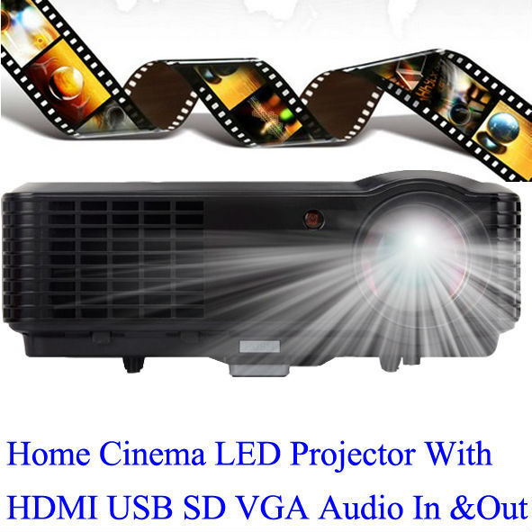 Huge Cinema Screen Projector 2800 Lumens HDMI USB Proyector Good Quality Image HD LED Projecteur Support Phone PS Laptop PC