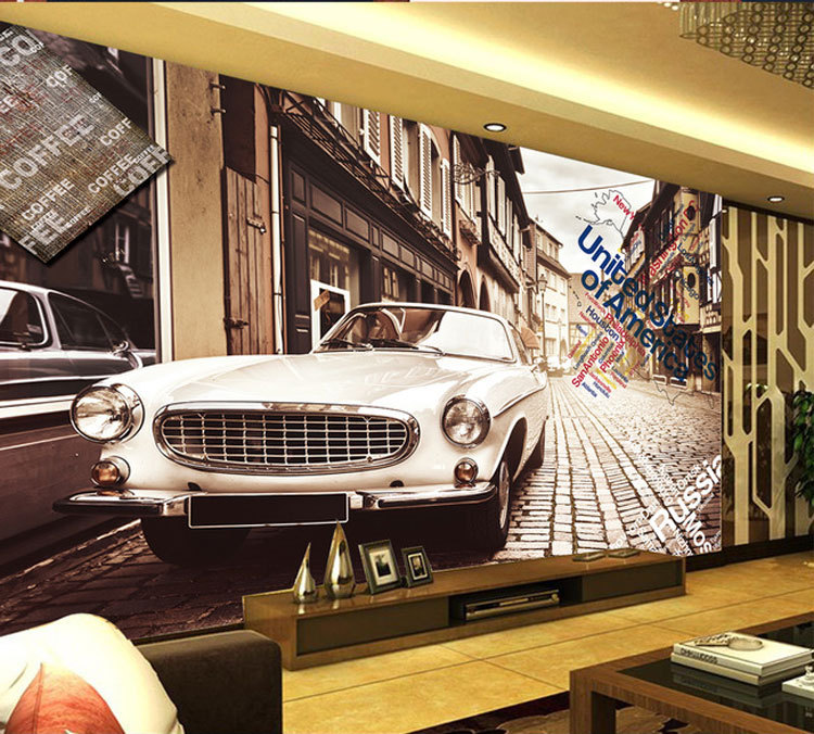 3d stereoscopic europe and retro wallpaper cool cars for Cars mural wallpaper