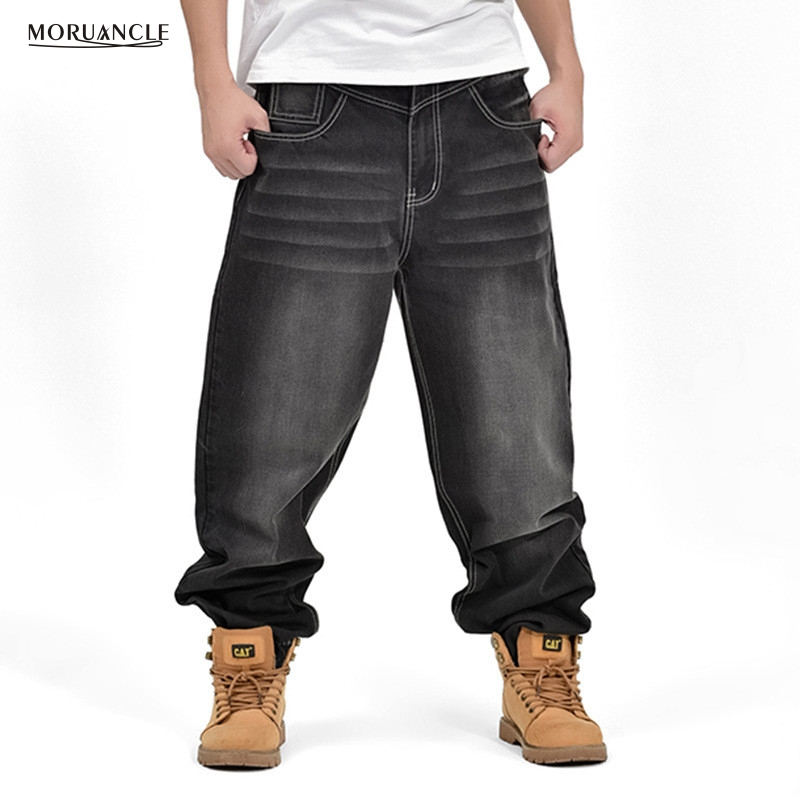 MORUANCLE Men Skateboard Jogger Jeans Fashion Baggy Hip Hop Denim Pants Plus Size 30 46 Black